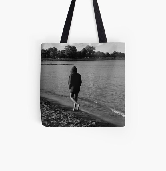 Solitude on the Beach - Grayscale - Water, Waves, Sand, Clouds, Trees All Over Print Tote Bag