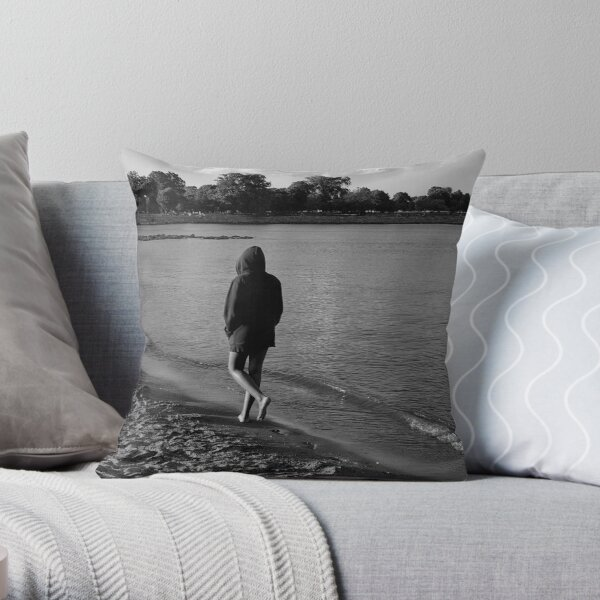 Solitude on the Beach - Grayscale - Water, Waves, Sand, Clouds, Trees Throw Pillow
