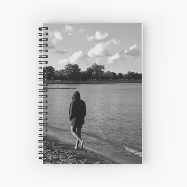 Solitude on the Beach - Grayscale - Water, Waves, Sand, Clouds, Trees Spiral Notebook