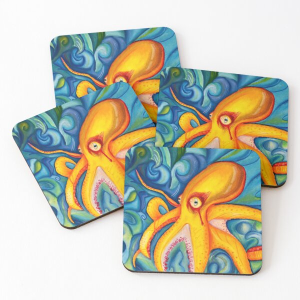 Abstract Trippy Octopus Coasters (Set of 4)