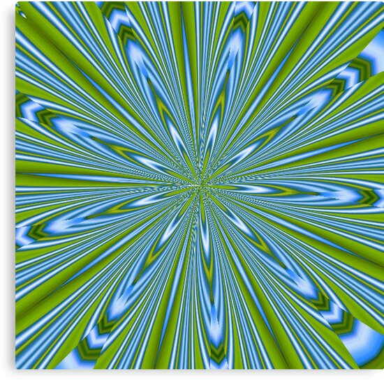 Star Burst in Lime and Blue Abstract Kaleidoscope by taiche