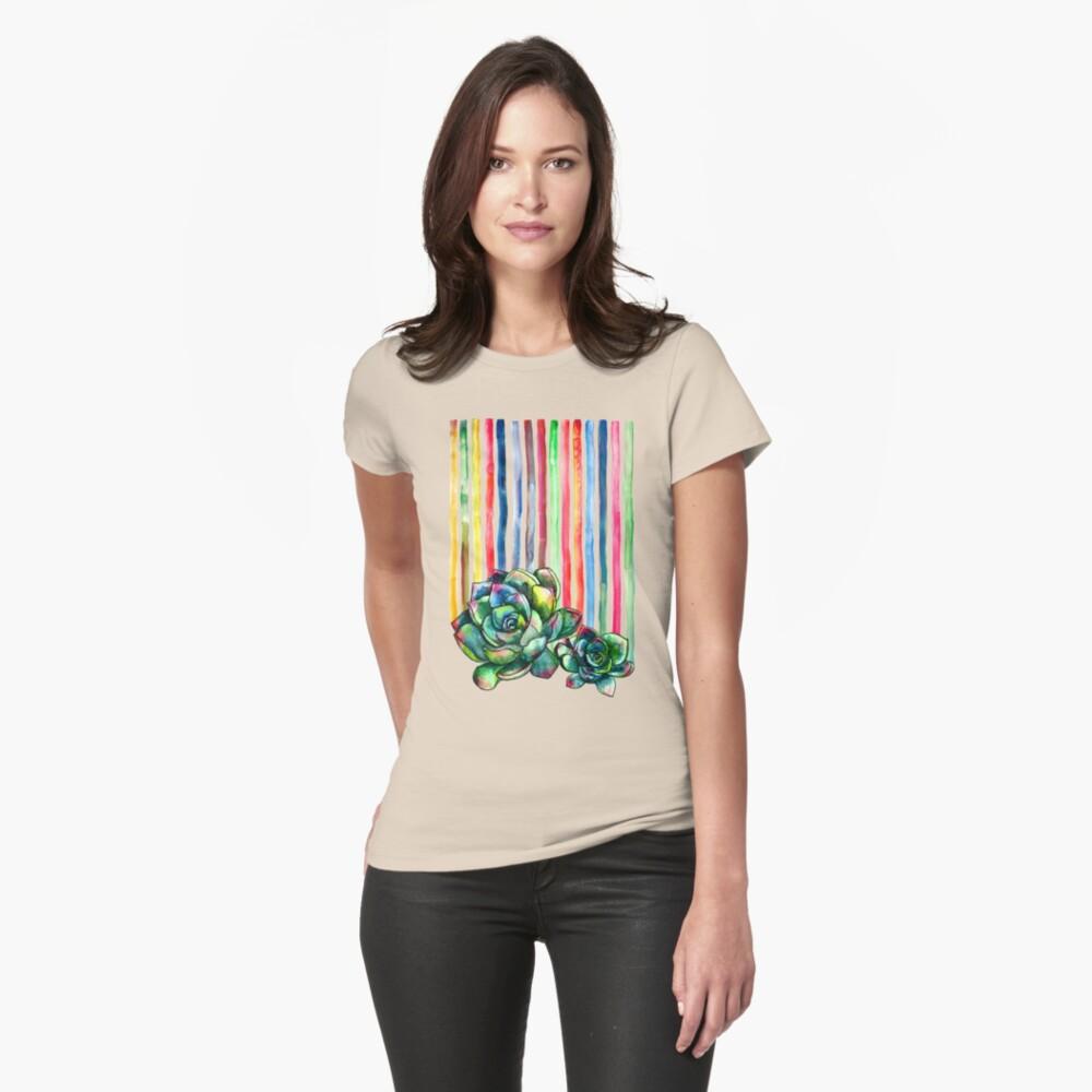 Rainbow Succulents Womens T-Shirt Front