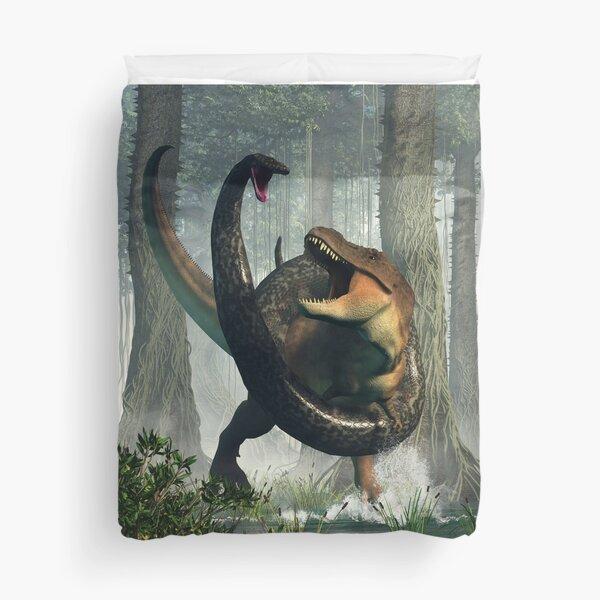 T-Rex vs Titanoboa Duvet Cover