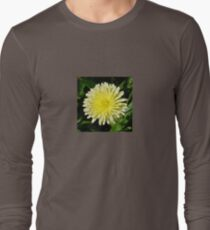 Pale Yellow Mary Bud Marigold With Garden Background Long Sleeve T-Shirt