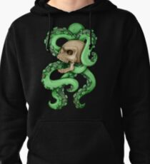 Skull with Neon Tentacles Pullover Hoodie