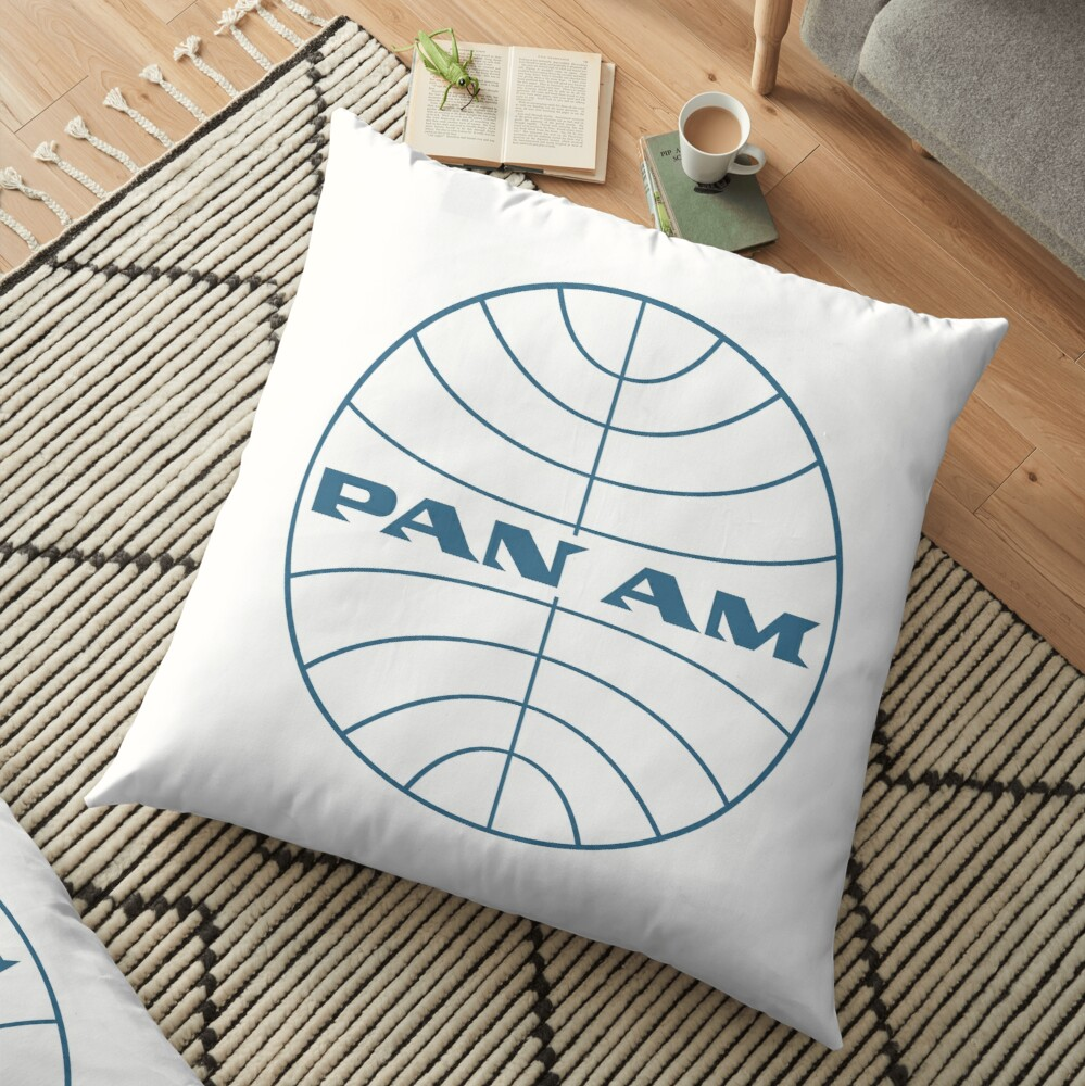 Pan Am Early 1950s Globe Thin Frame Floor Pillow