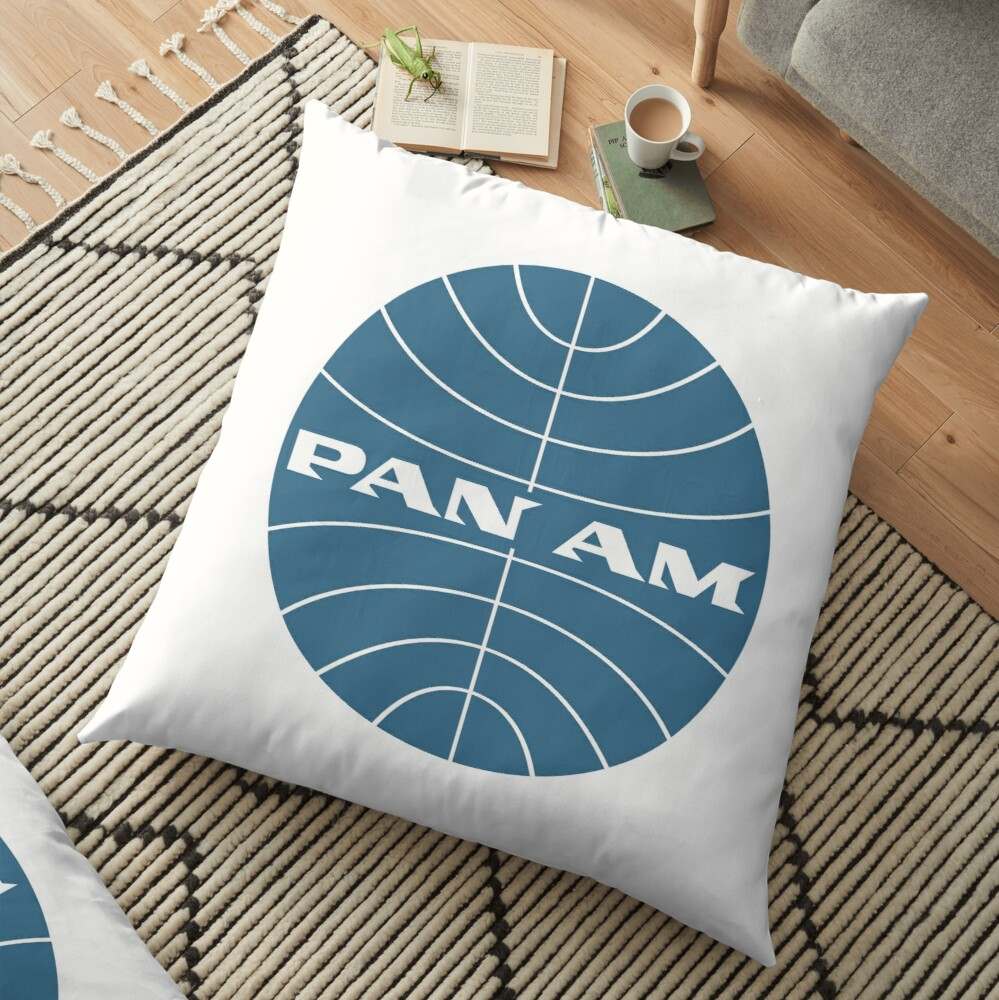 Pan Am Early 1950s Globe Thin Frame Inverted Floor Pillow