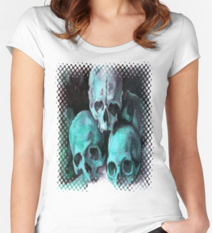 Trick or Treat Skulls Halloween Greeting Women's Fitted Scoop T-Shirt