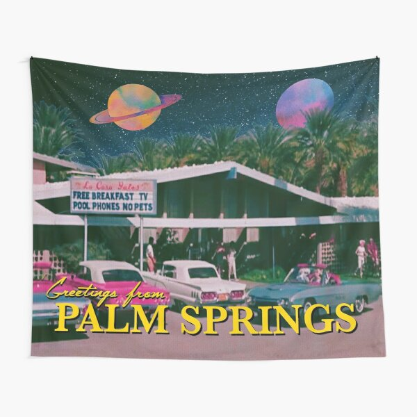 greetings from palm springs Tapestry