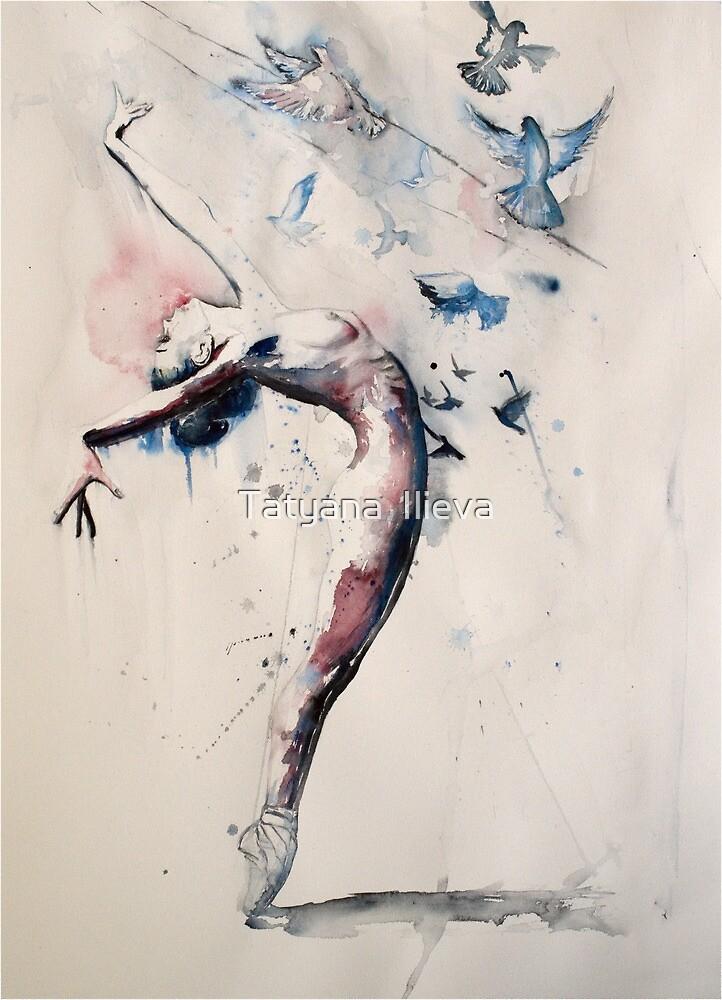 Wonderwall - Flying ballerina with the pigeons. by Tatyana  Ilieva