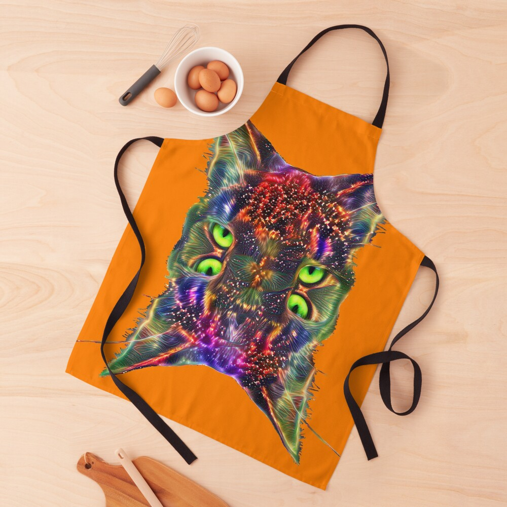 Artificial neural style Space galaxy mirror cat Apron