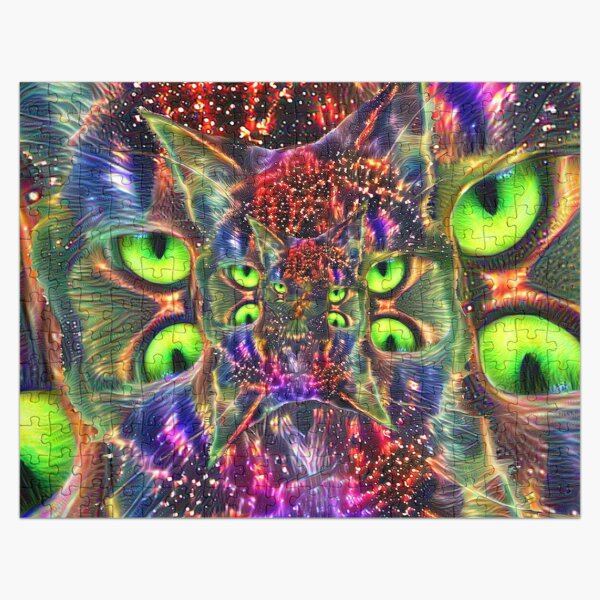 Artificial neural style Space galaxy mirror cat Jigsaw Puzzle