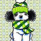 Parti Poodle Winter Plaid Meets Polka by offleashart