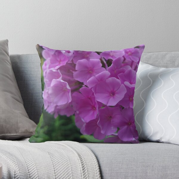 Fuchsia Flower Hydrangeas Photo Design Throw Pillow