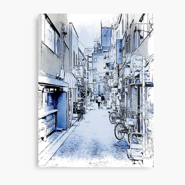 Couple Walking Down an Alley, Taito, Tokyo, Japan Metal Print