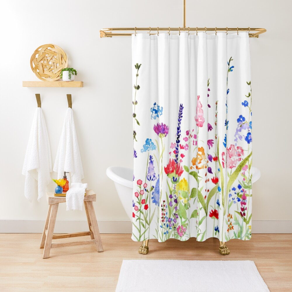 colorful wild flower field  Shower Curtain