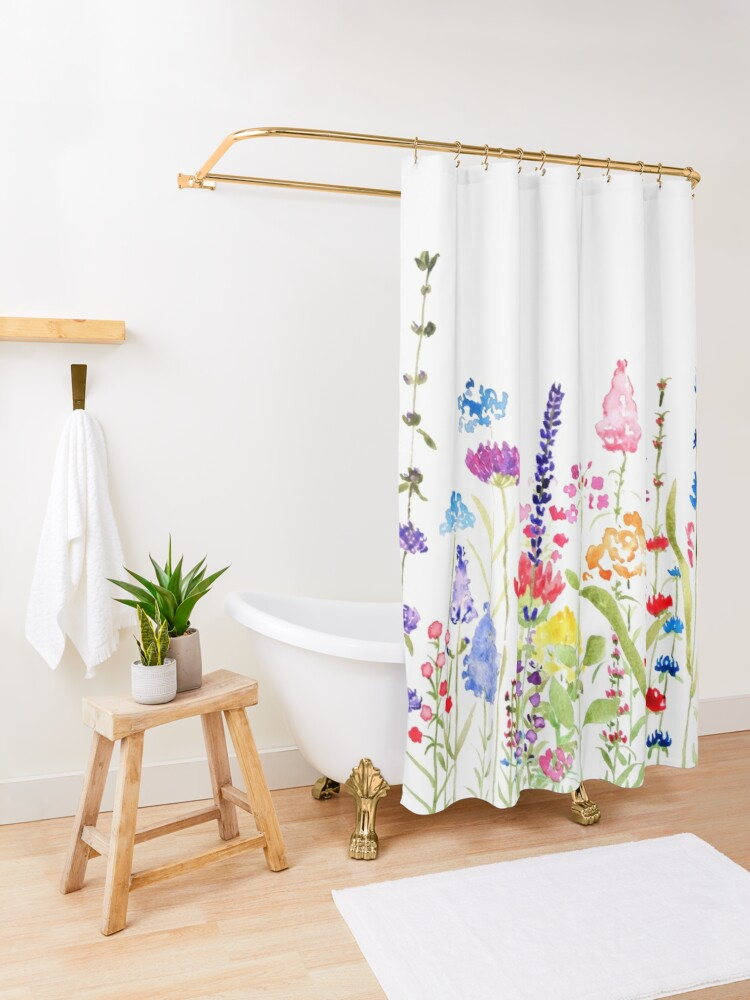 Alternate view of colorful wild flower field  Shower Curtain