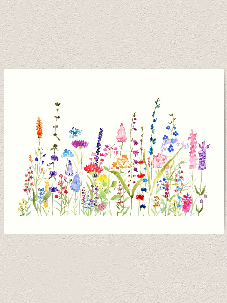 Alternate view of colorful wild flower field  Art Print