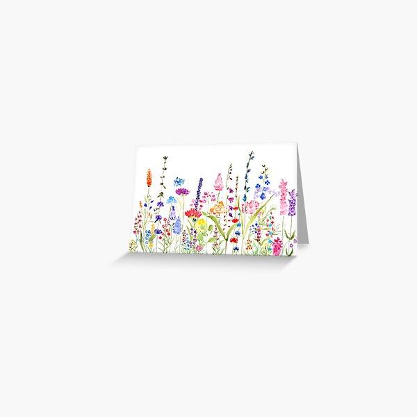 buntes wildes Blumenfeld Grußkarte