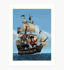 cartoon-animal-pirate-ship-martin-davey Art Print
