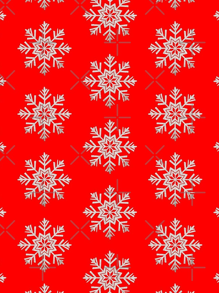 Faux Silver Glitter Christmas Snowflake On Red by MFGB-Creations