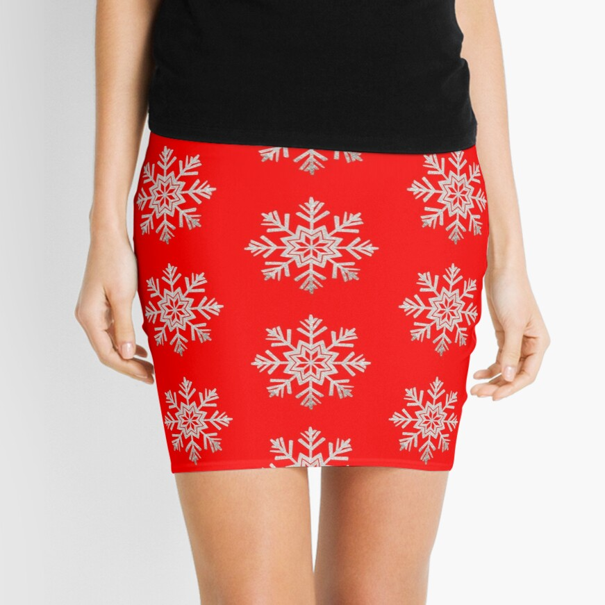 Faux Silver Glitter Christmas Snowflake On Red Mini Skirt