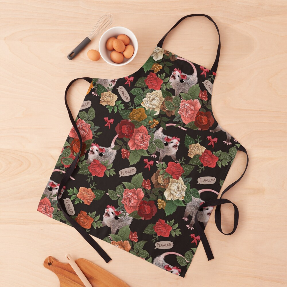 Opossum Floral Pattern (with text) Apron