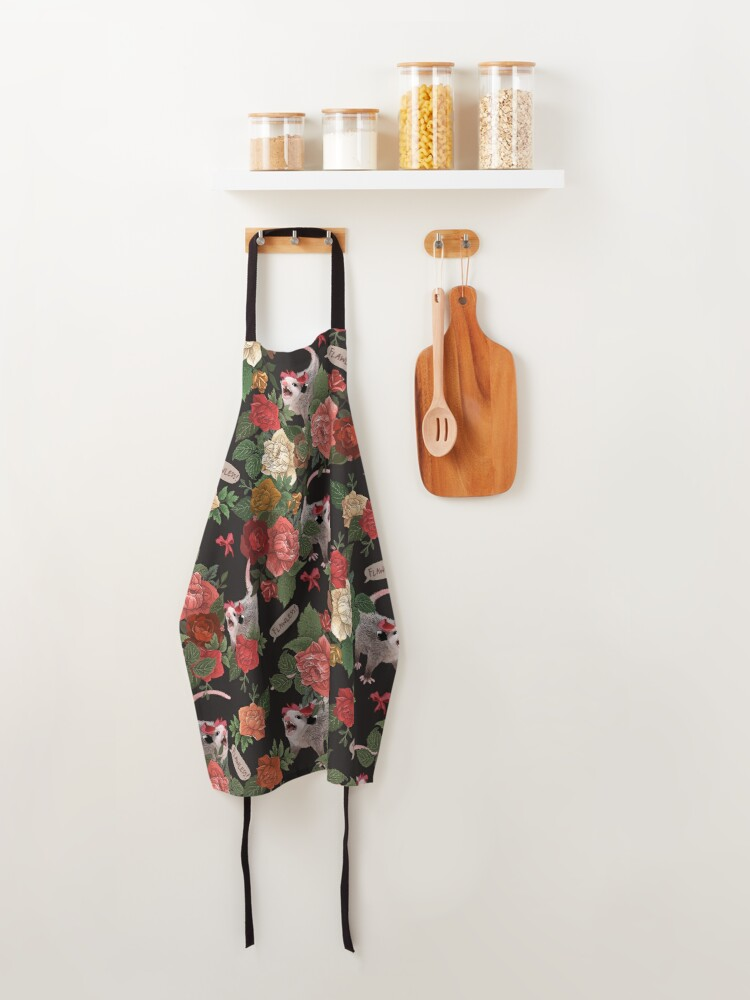 Alternate view of Opossum Floral Pattern (with text) Apron