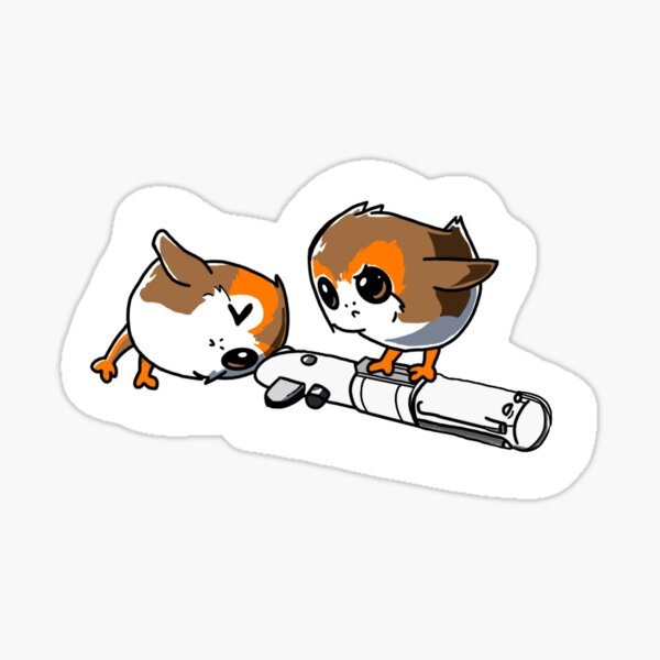 Porgs with Lightsaber Sticker