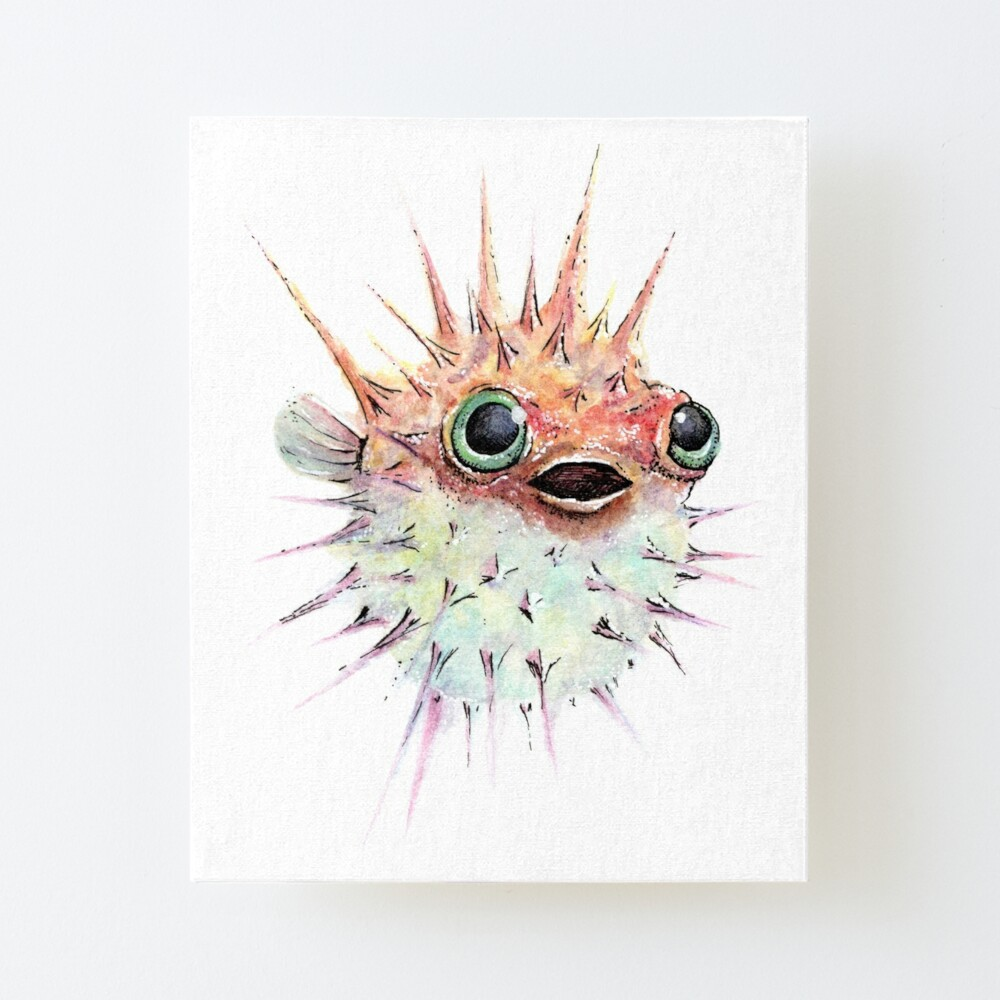 Watercolor Puffer Fish Art Board Print By Stephaniemassie Redbubble