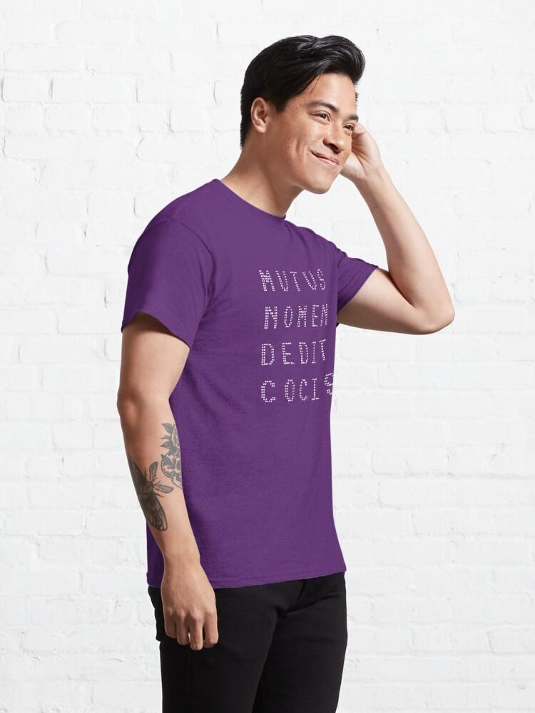Alternate view of mutus nomen dedit cocis (white text) Classic T-Shirt