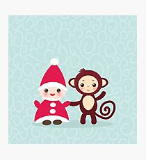 gnome and monkey  Photographic Print
