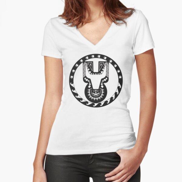 Unimog Tribal Logo Tailliertes T-Shirt mit V-Ausschnitt