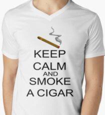 Keep Calm And Smoke A Cigar Men's V-Neck T-Shirt