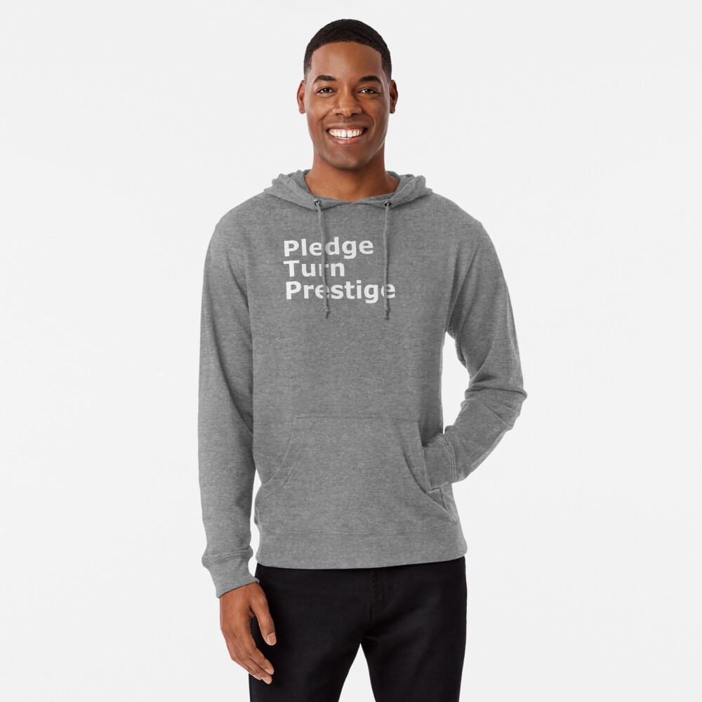 Three stages of a magic trick (white text) Lightweight Hoodie