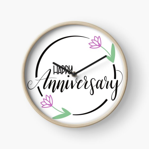 Happy Anniversary with Flowers Clock