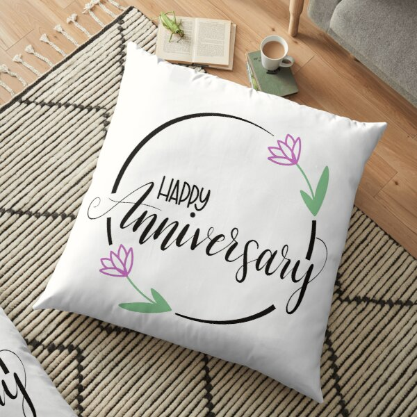 Happy Anniversary with Flowers Floor Pillow