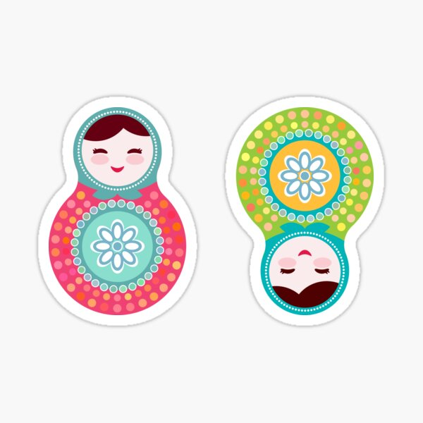 Russian dolls matryoshka, pink blue green colors colorful bright, seamless pattern Sticker
