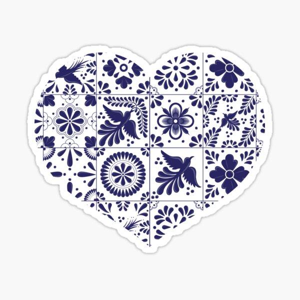 Mexican Talavera Tiles Heart Pegatina