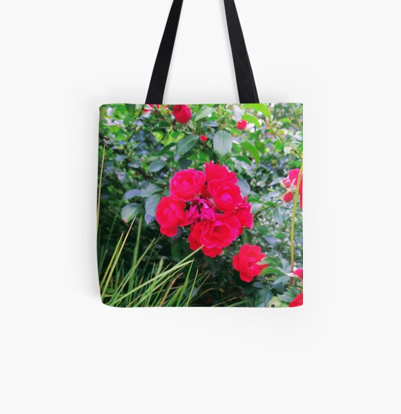 Red Rose Bunch Floral Photo Design All Over Print Tote Bag