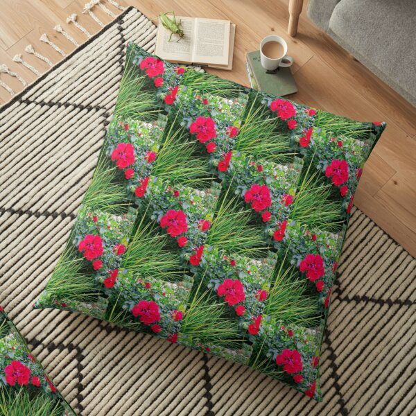 Red Rose Bunch Floral Photo Design Floor Pillow