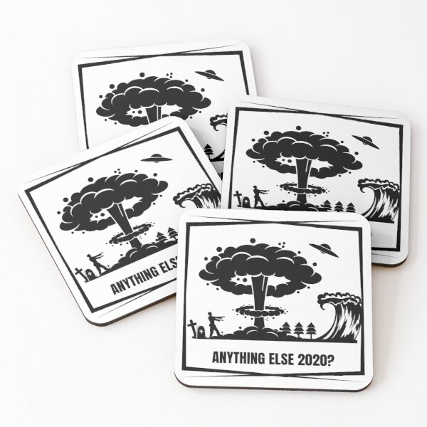 Anything Else 2020 Zombie UFO Tsunami Nuclear Black Design Coasters (Set of 4)