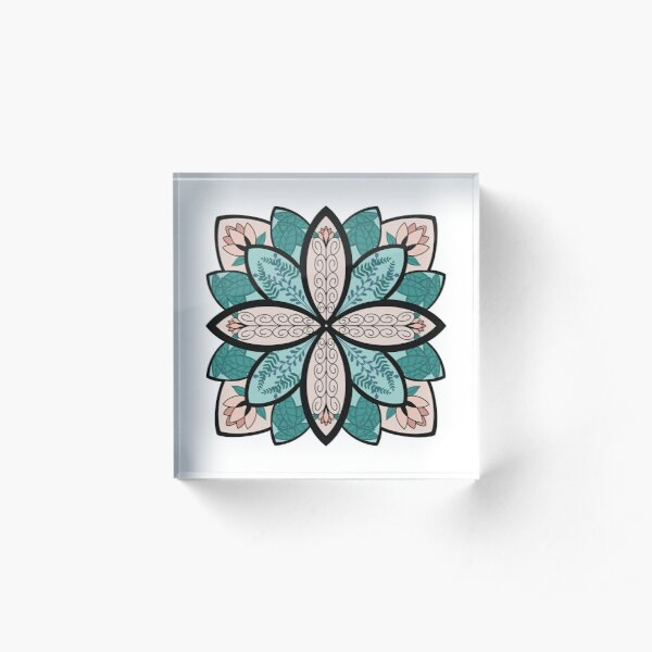 Floral Mandala with Leaves Acrylic Block