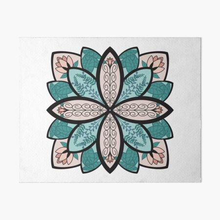 Floral Mandala with Leaves Art Board Print