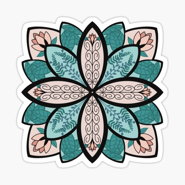 Floral Mandala with Leaves Sticker