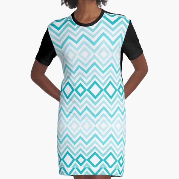 Impresiones Lite en azul y blanco Vestido camiseta