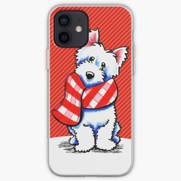 Westie Happy Red Plaid Scarf iPhone Soft Case