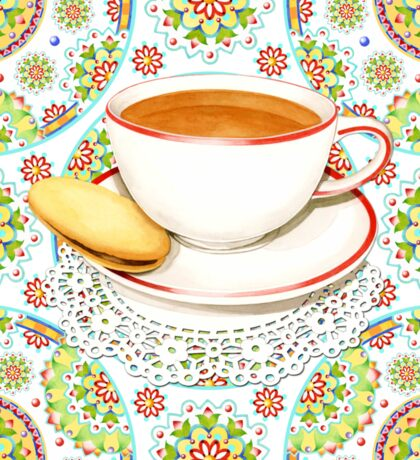 Cup of Tea on Mandala Cloth Sticker