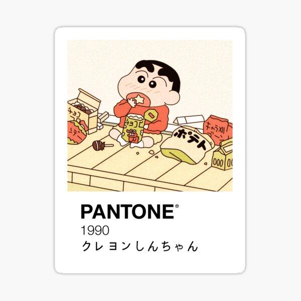 Shin Chan disfrutando de aperitivos Pantone Pegatina