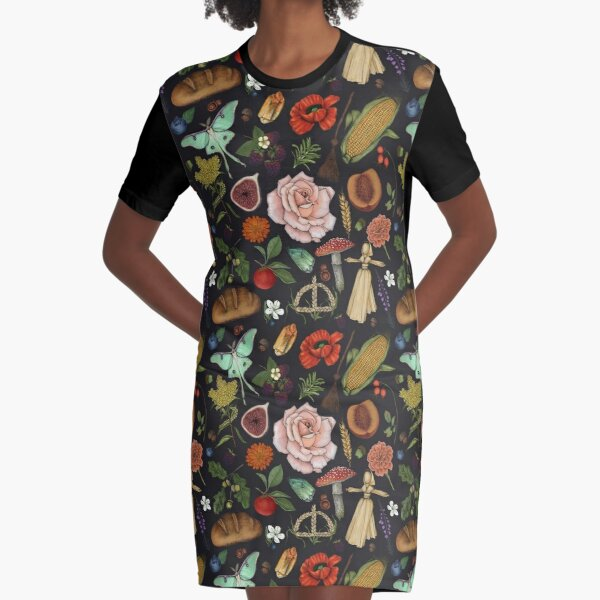 Lughnasadh Pattern- Graphite Graphic T-Shirt Dress